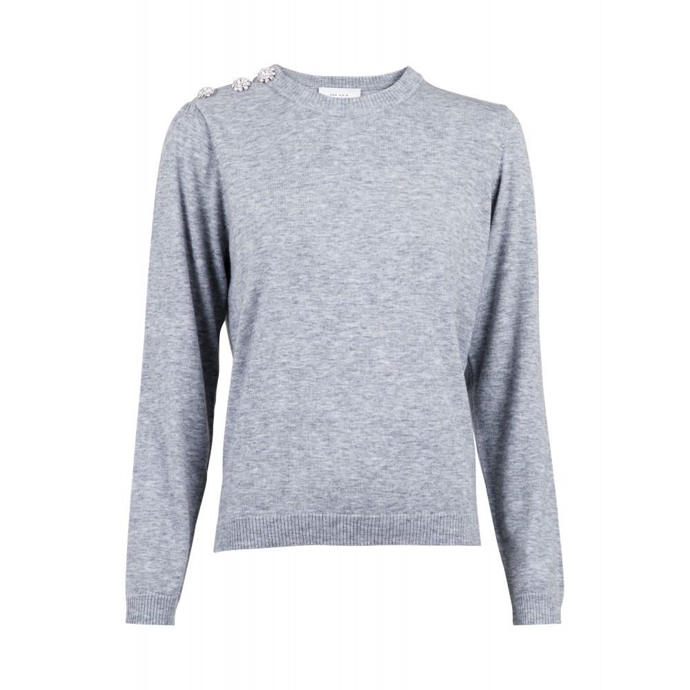 Giselle Diamond Knit - light grey melange