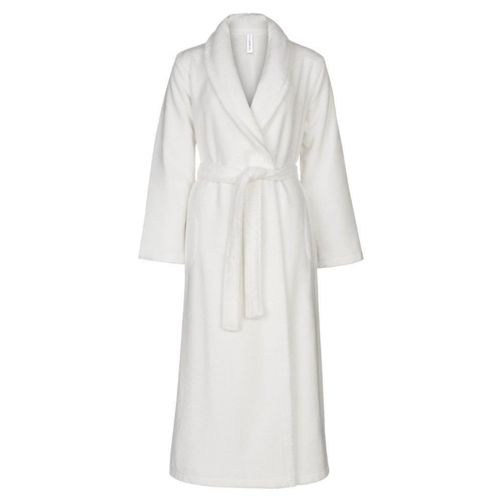 Sauna ladies' robe shawlcollar 130 cm, hvid