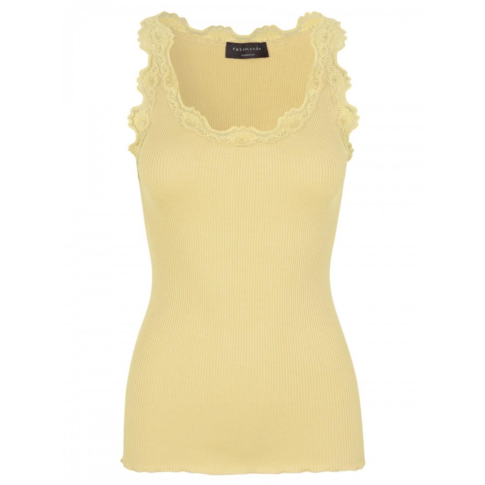 Silk top regular w/vintage lace - vanilla yellow