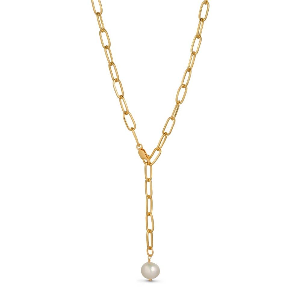 Lænkekæde m. perle, guld