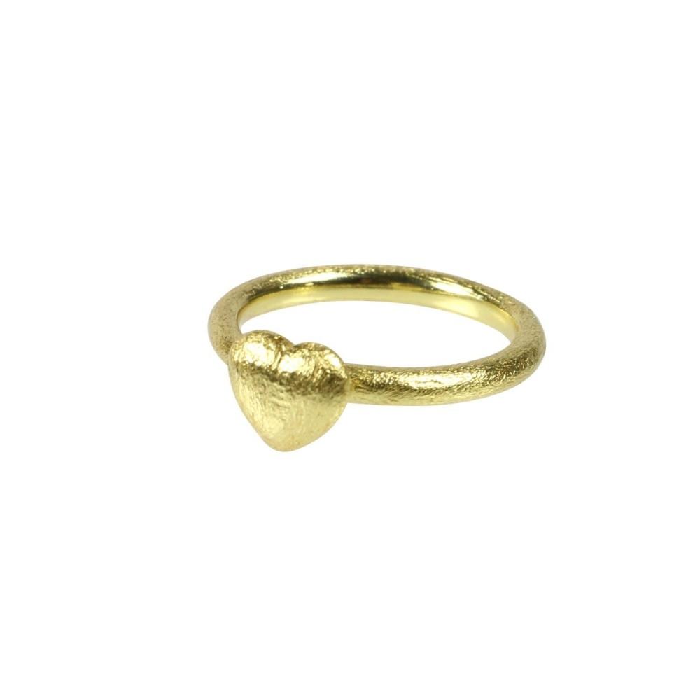 Fingerring m. hjerte, guldbelagt
