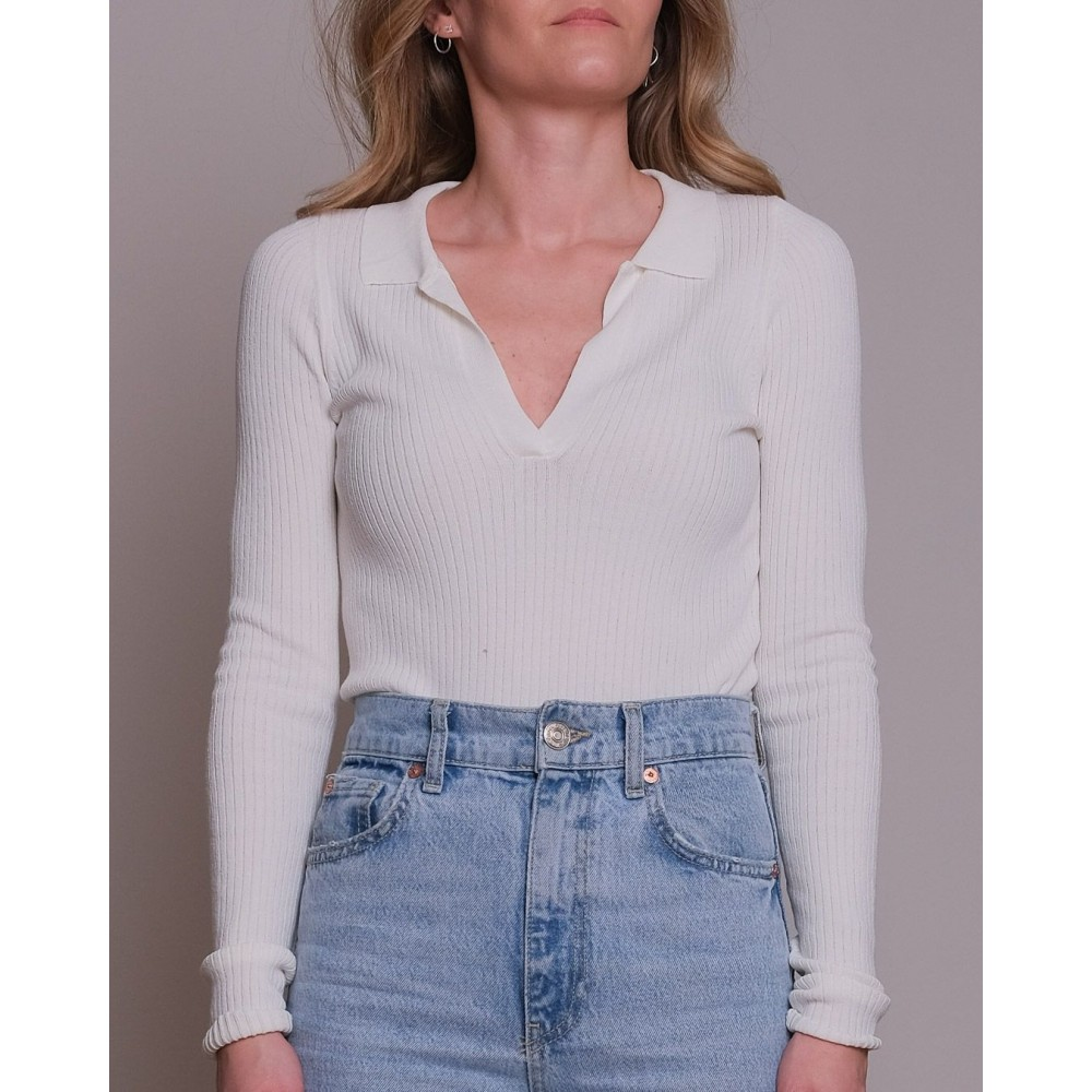 Noe Noir Mily soft knit blouse - off white