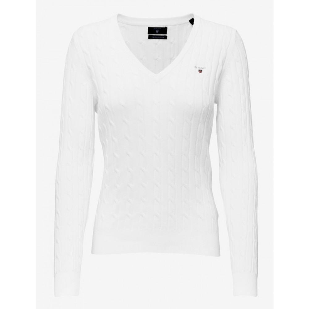 Stretch cotton cable v-neck - eggshell