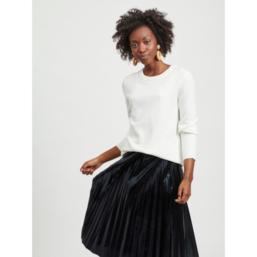 Viril o-neck L/S knit - white alyssum