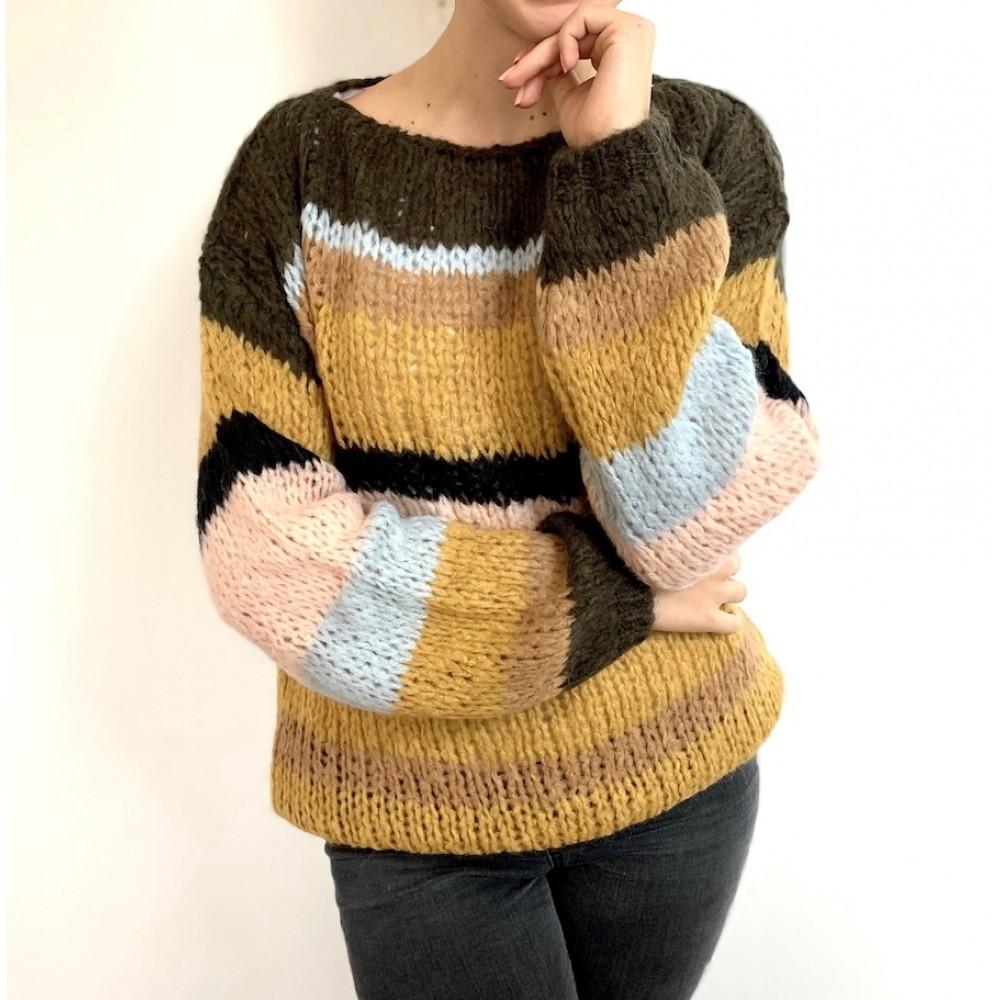 Kala Knit Sweater, Brown Stripes