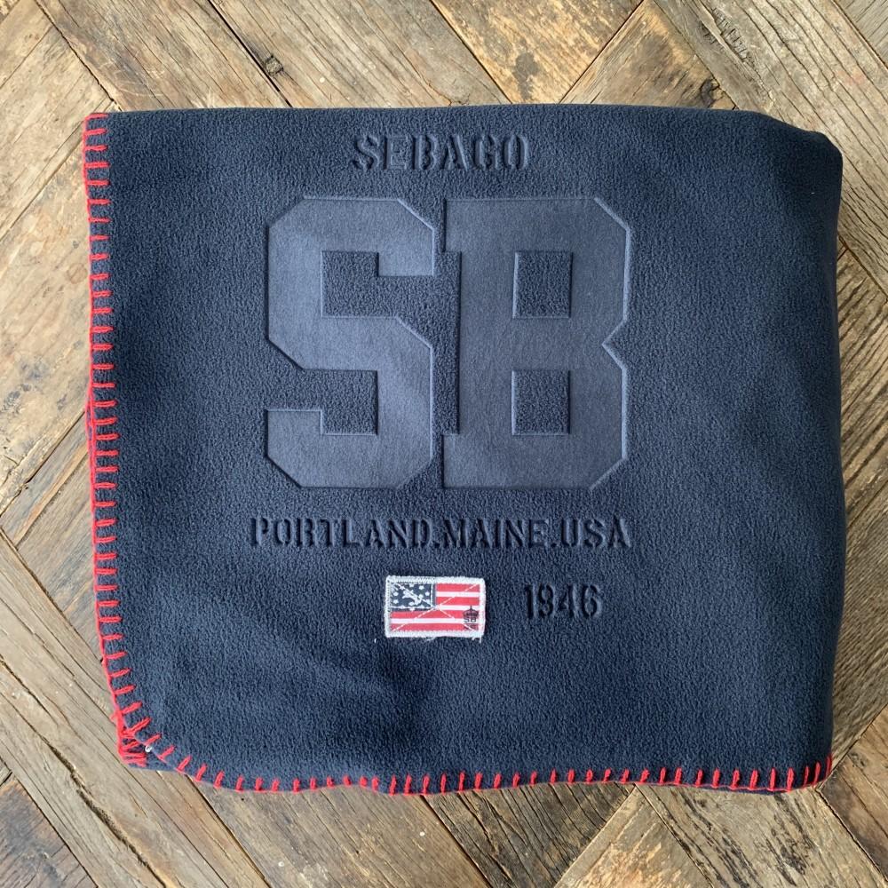 Sebago Fleece blanket, navy blue