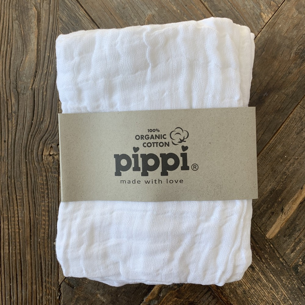 Pippi Økologisk stofbleer 4-pak, hvid