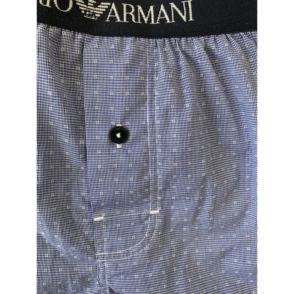 Woven Cotton Boxershorts, blue checked w. dots-01