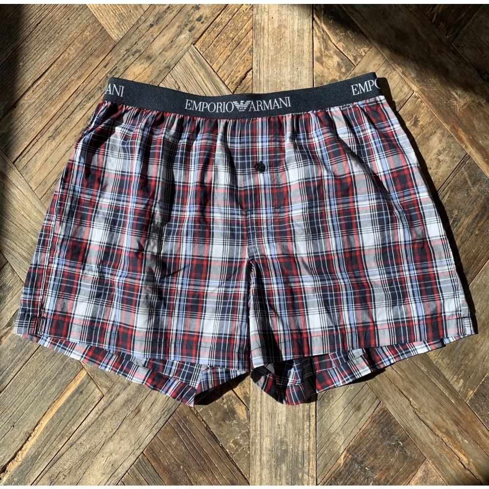 Woven Cotton Boxershorts, blue/red checked