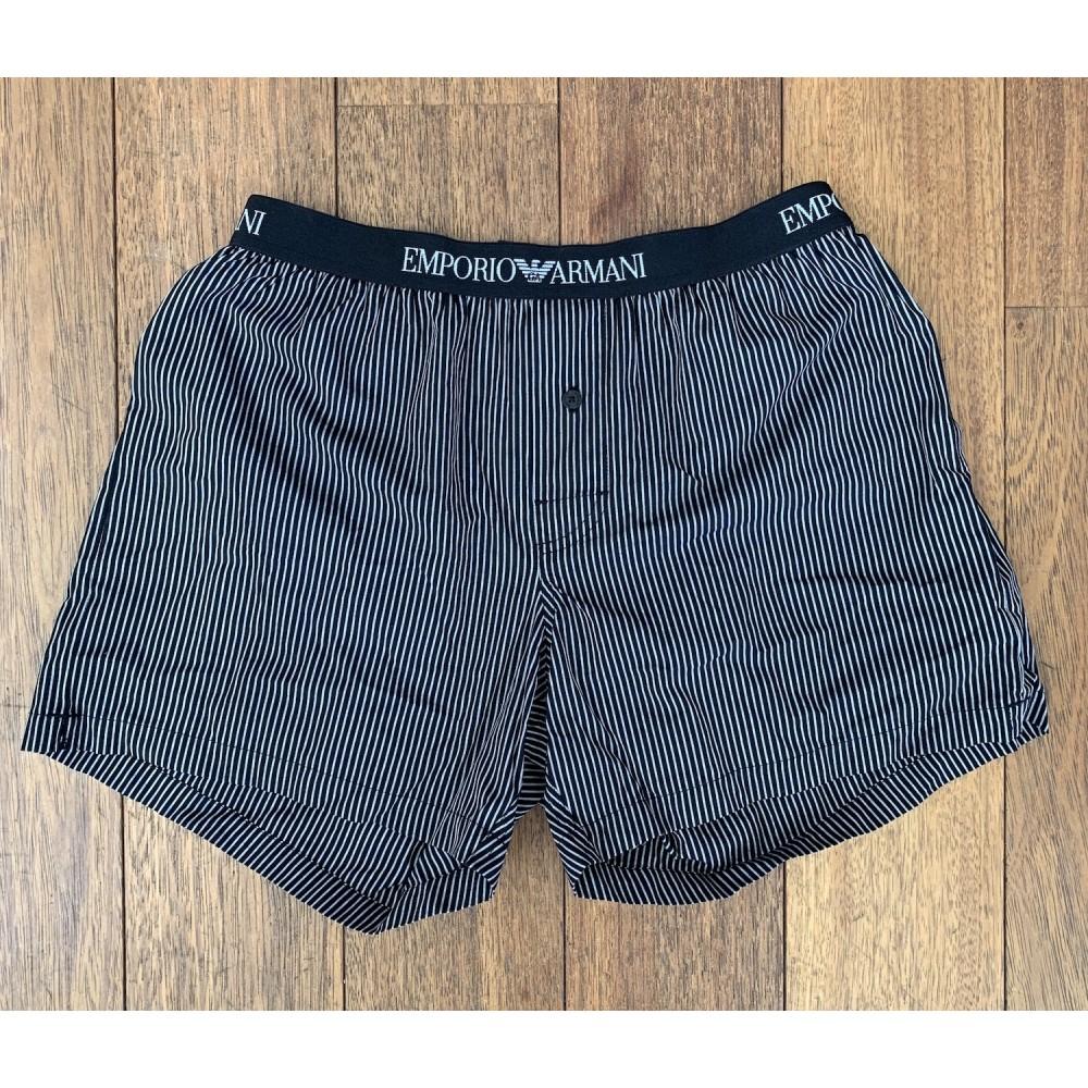 Woven Cotton Boxershorts, black striped