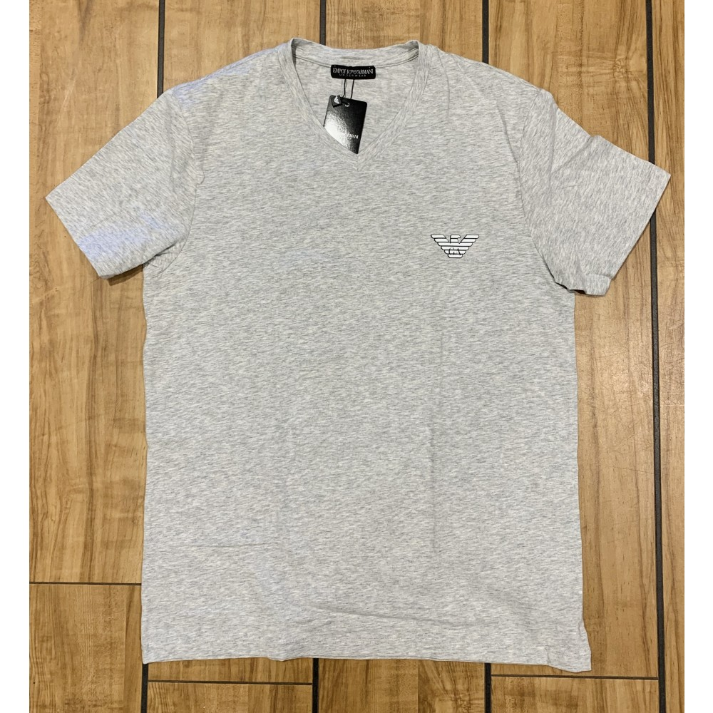 V Neck T-shirt S/Sleeve, melange grey