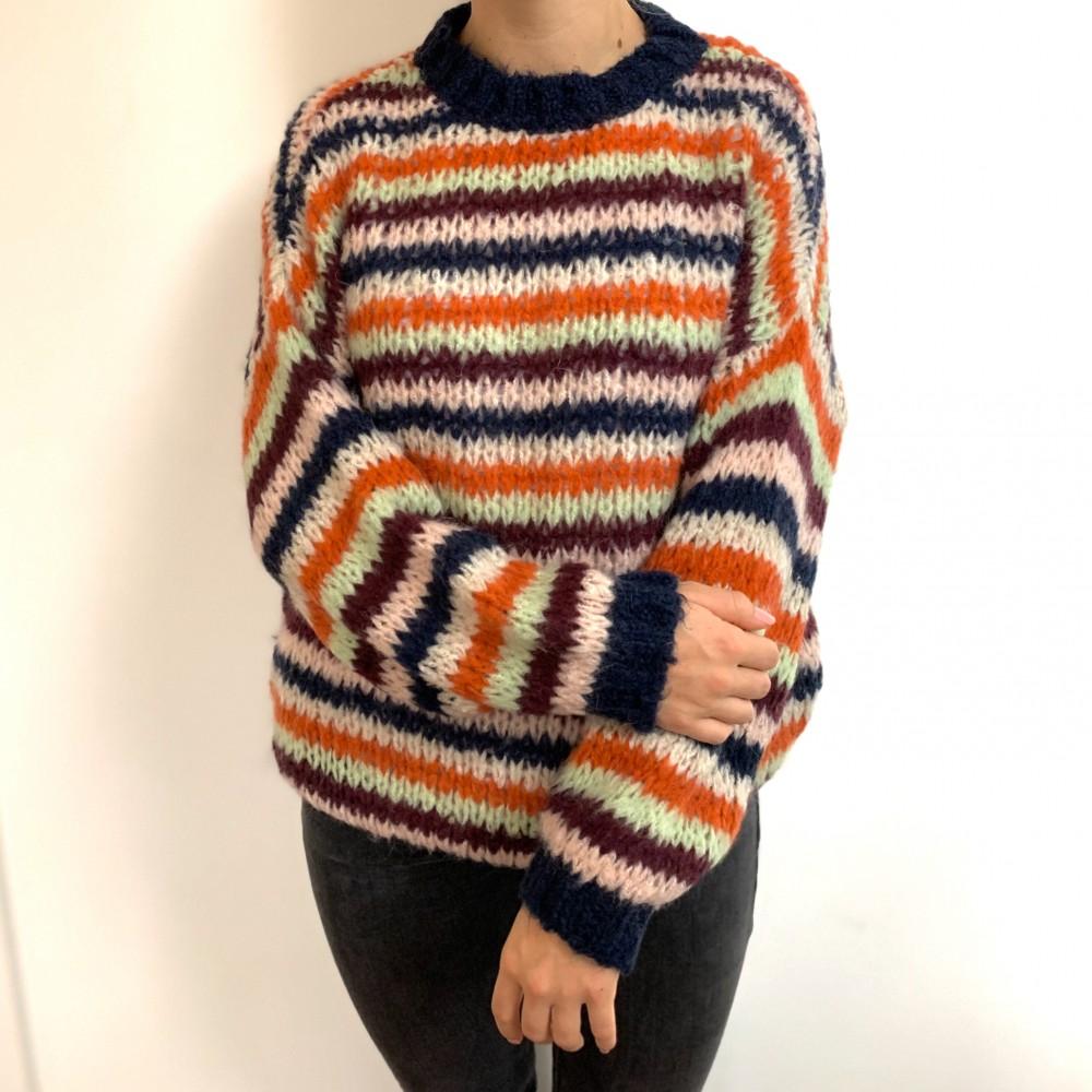 Kala Knit Sweater, Multi Green Blue-01