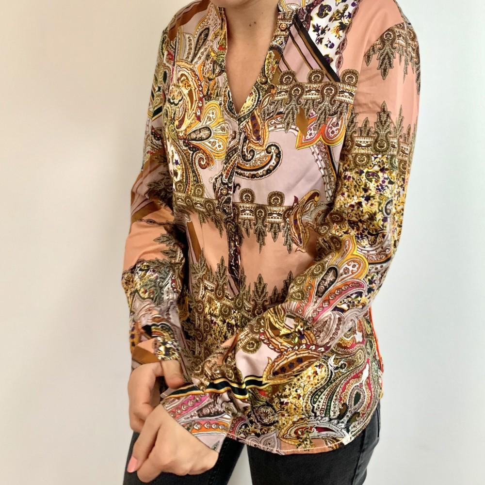 Emily skjortebluse, lyserødt mønster