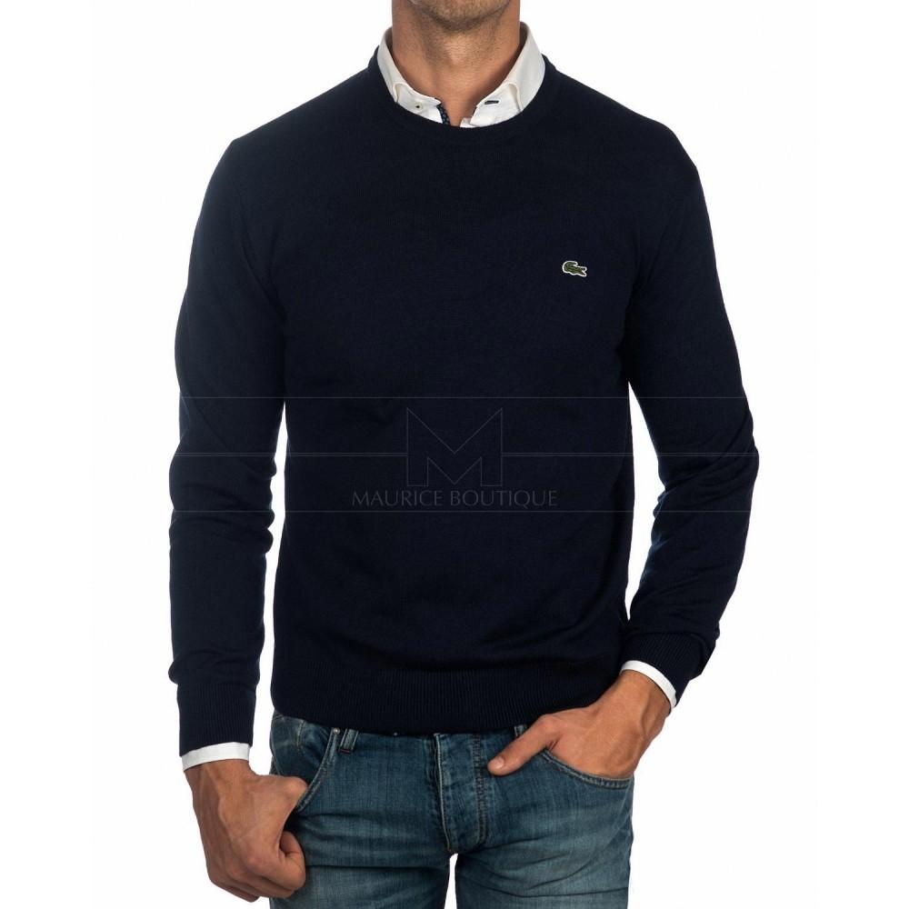 Round Neck Tricot Sweater, Black-01