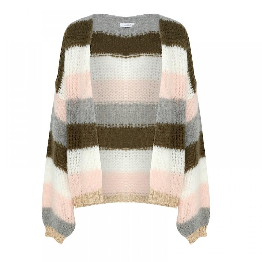 Kala Knit Cardigan, Olivegreen/rose stripes