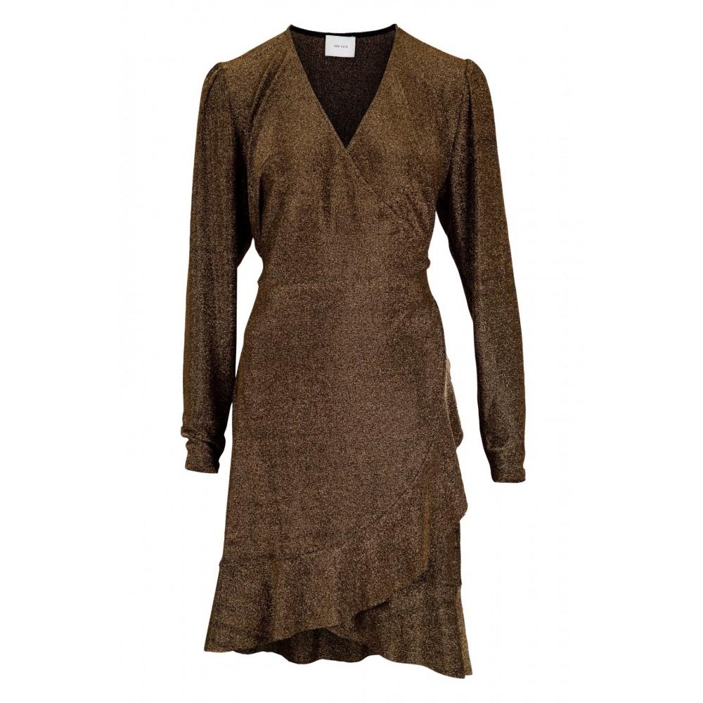 Mille lurex dress, dark gold-01