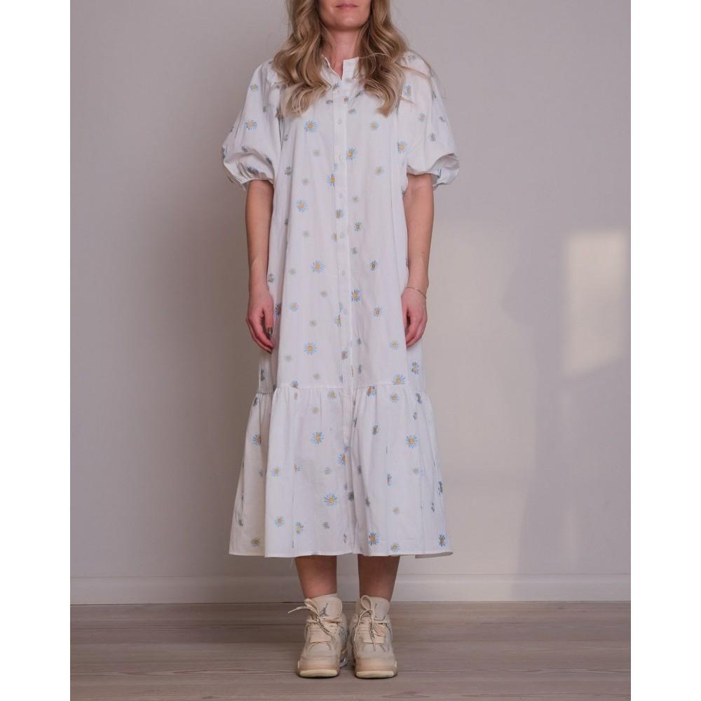Neo Noir Veronica flower dress - white