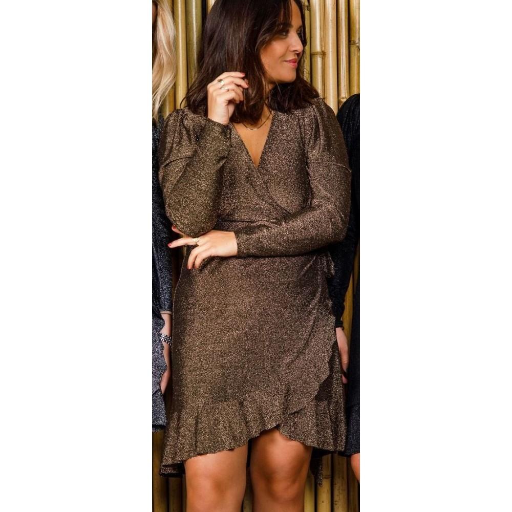 Mille lurex dress, dark gold