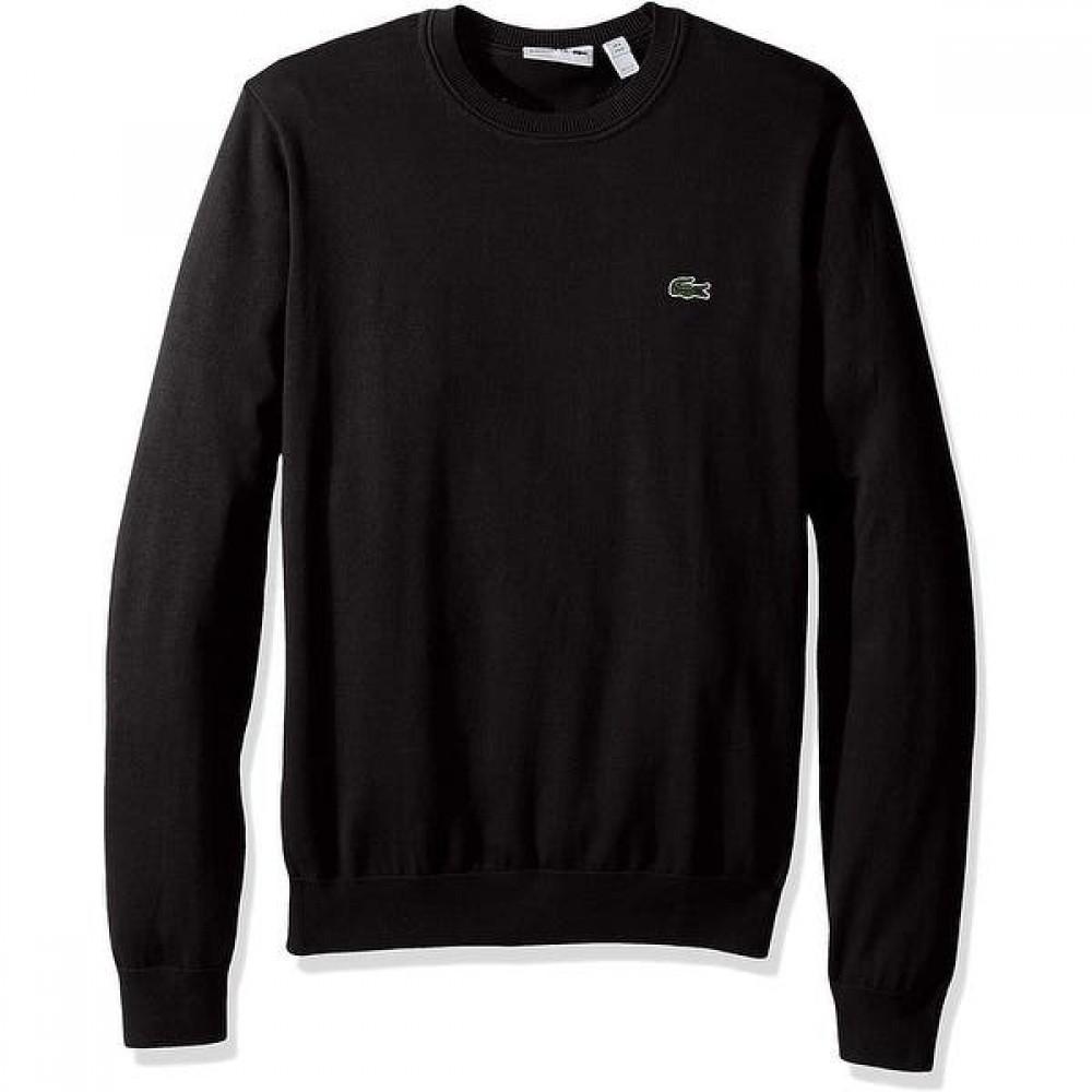 Round Neck Tricot Sweater, Black