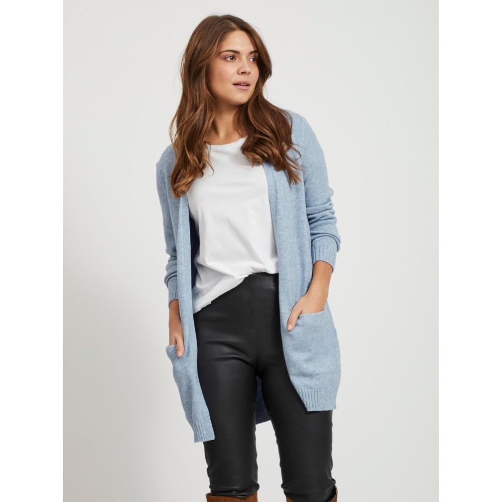 Viril open L/S knit cardigan - Ashley blue
