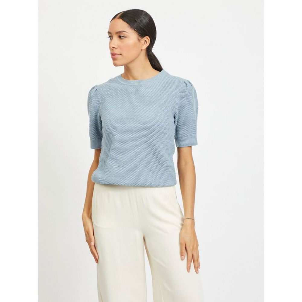 Vichassa puff s/s knit - ashley blue