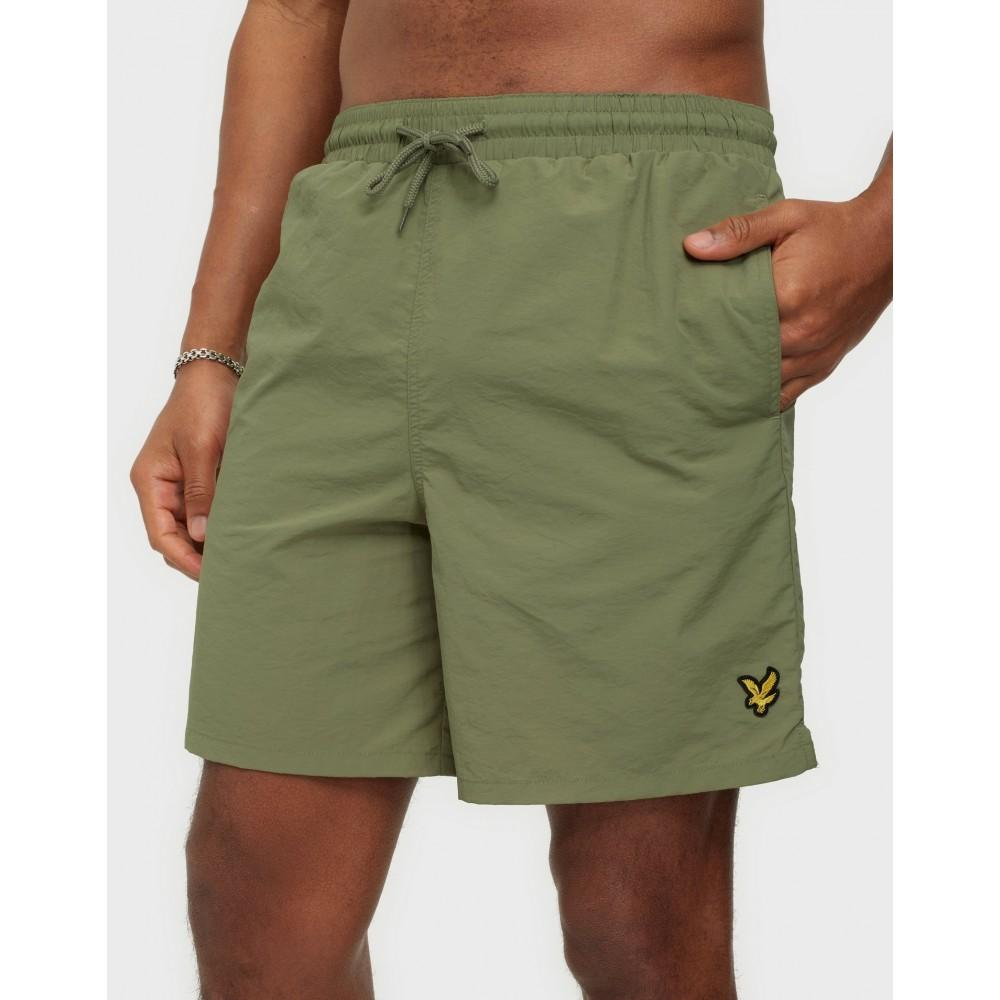 Plain swim shorts - moss