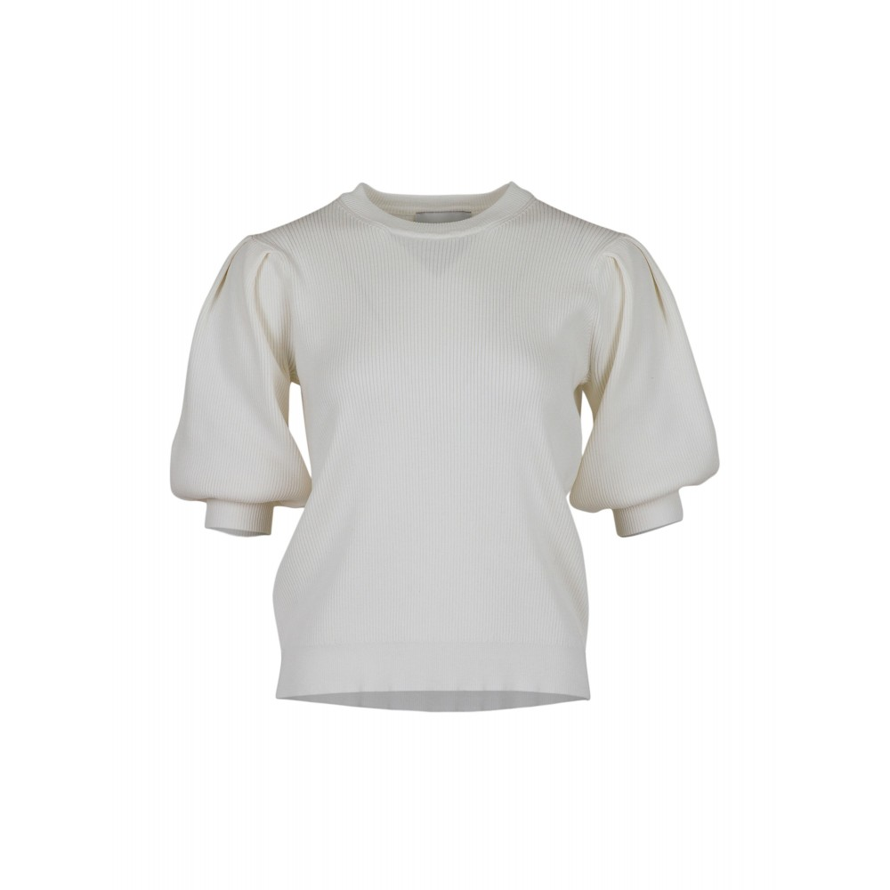 Bora solid knit blouse - off white