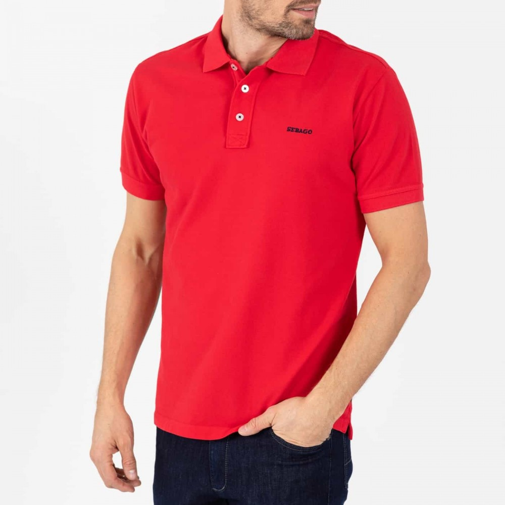 Outwashed polo pique - red