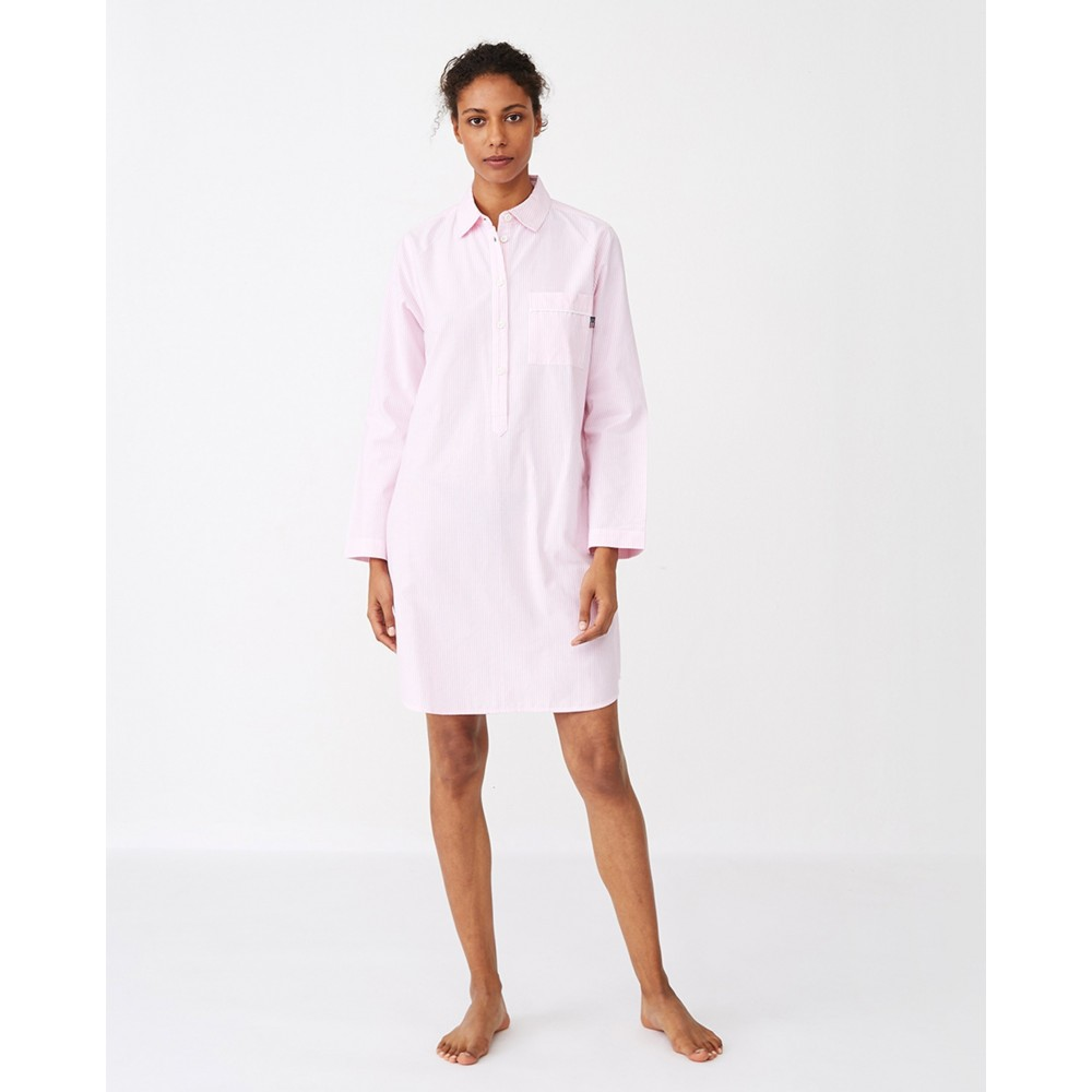 Women's Nightshirt Organic Pink/white