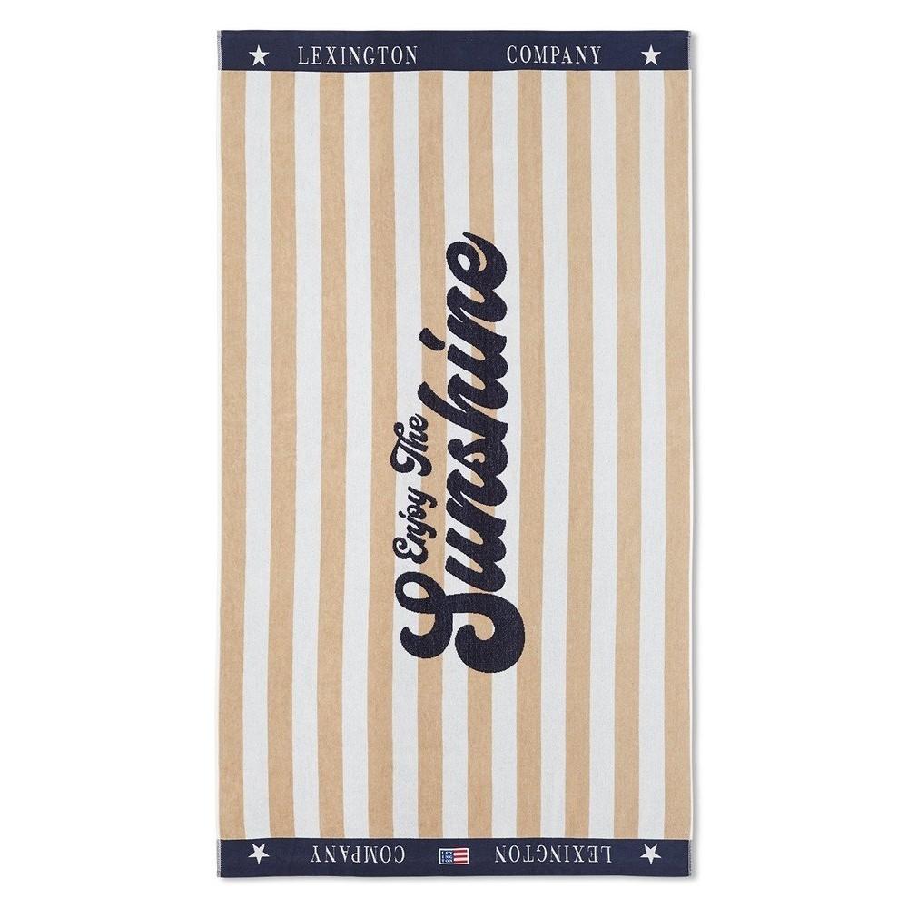 Graphic cotton velour beach towel - sand/white
