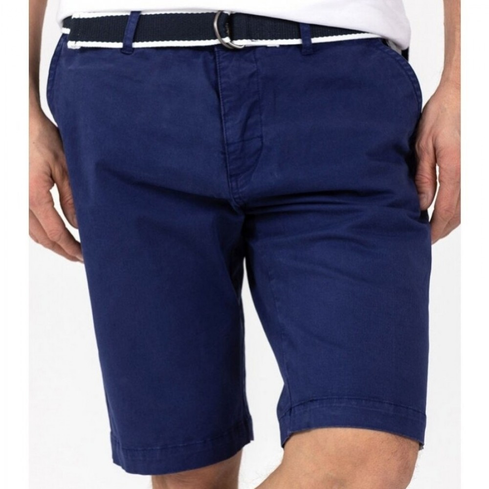Belted bermuda shorts - navy