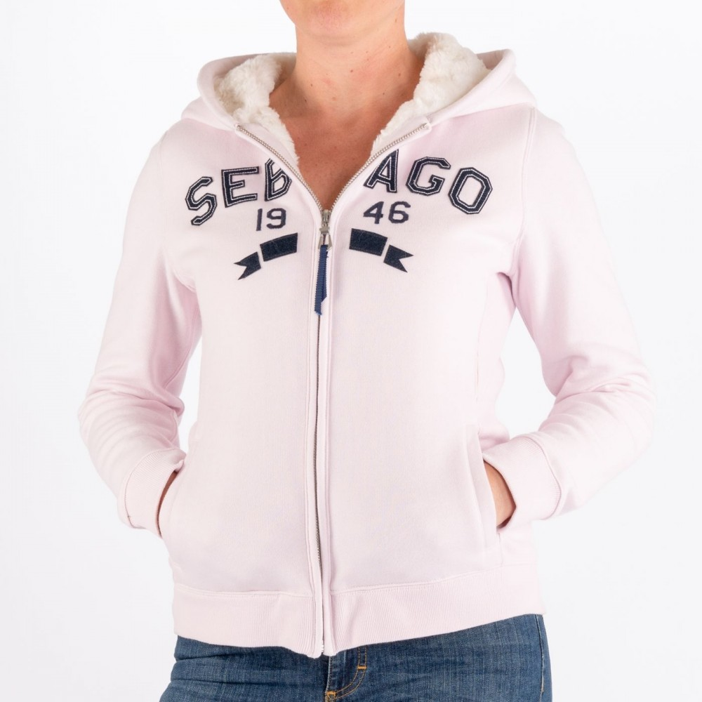 Maine Fur Lined Zip Hoodie, Soft Pink