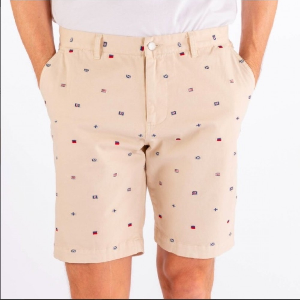Dockside flag bermuda shorts - dark sand