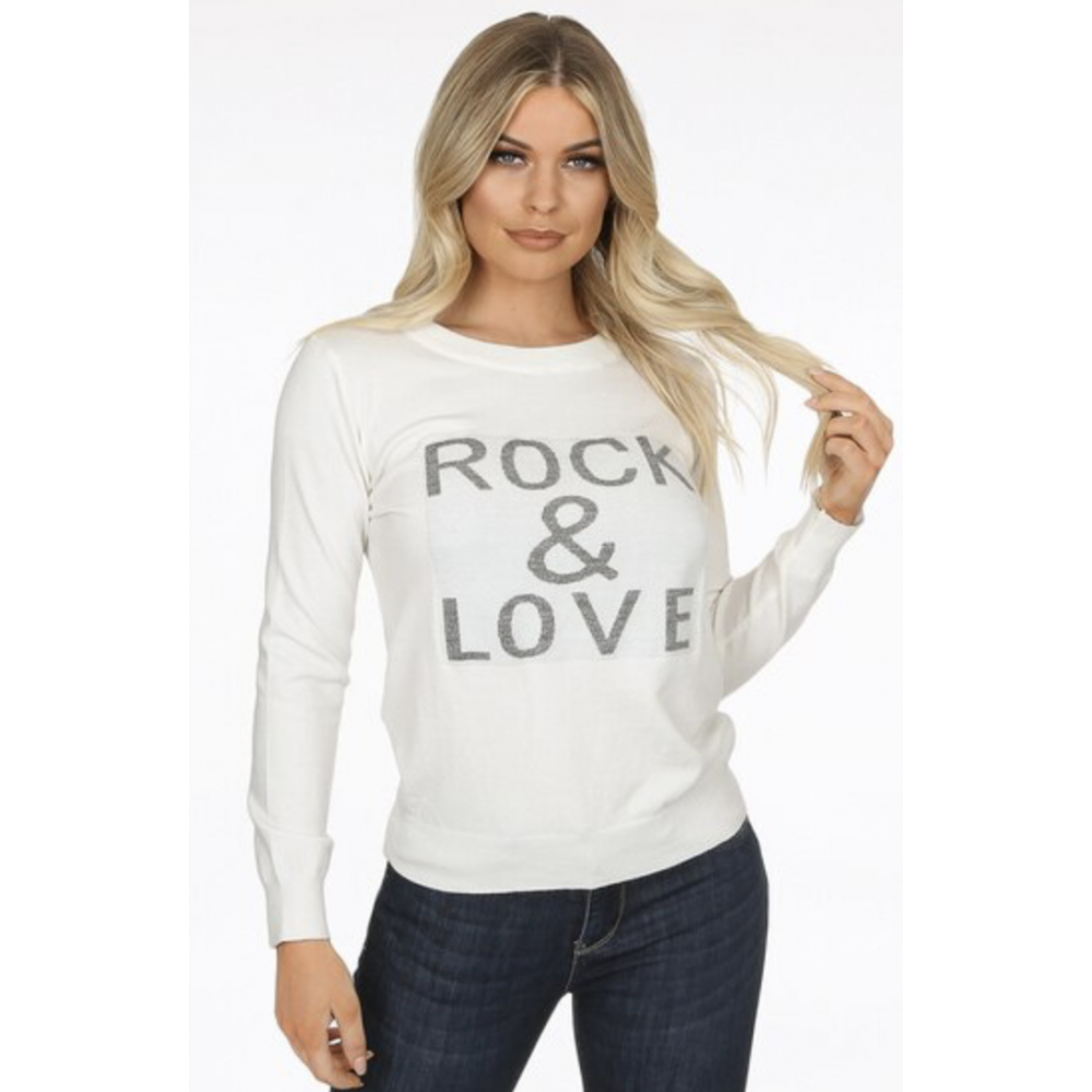 Rock and Love Slogan Ribbed Jumper White-01