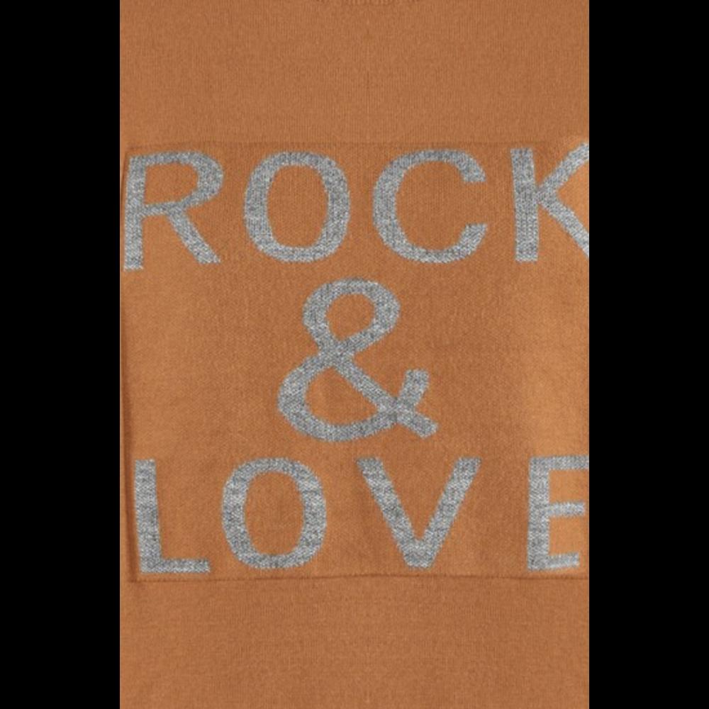 Rock and Love Slogan Ribbed Jumper Brown-01