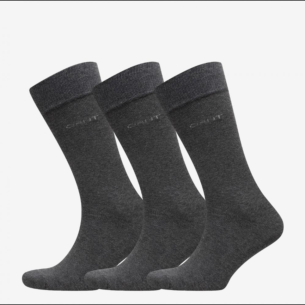 3-Pack Soft Cotton Socks, Charcoal Melange