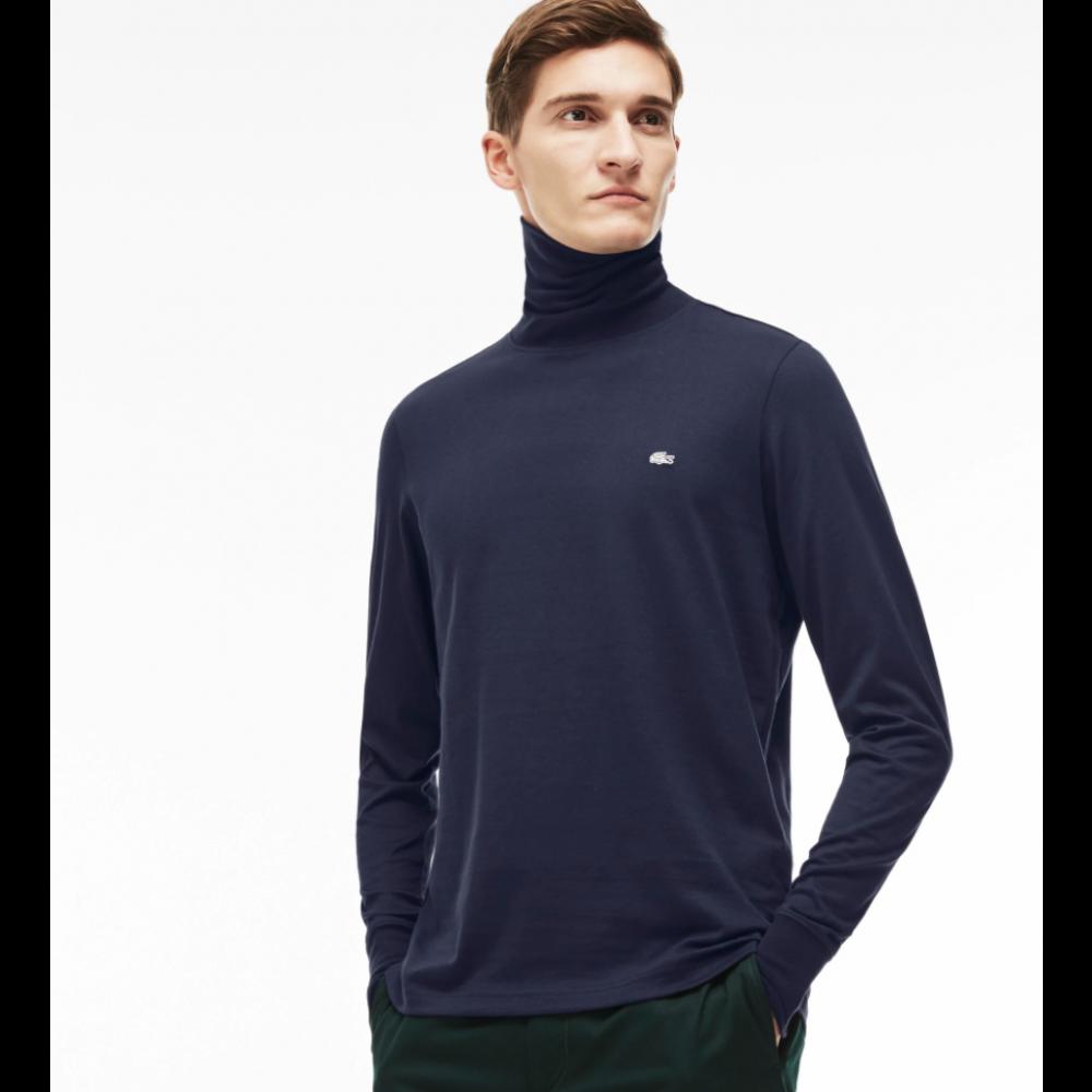 Long Sleeved Turtle Neck Shirt, Navy Blue-01