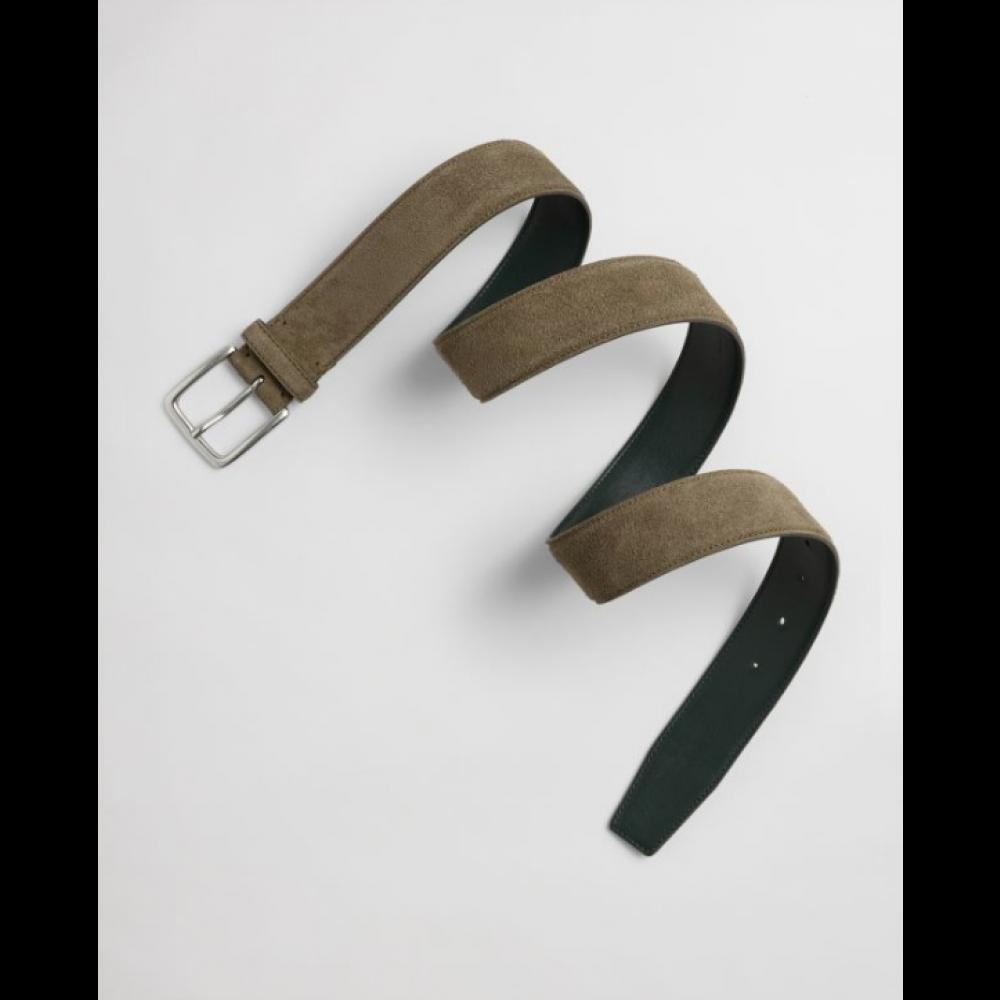 Classic suede belt - dark leaf