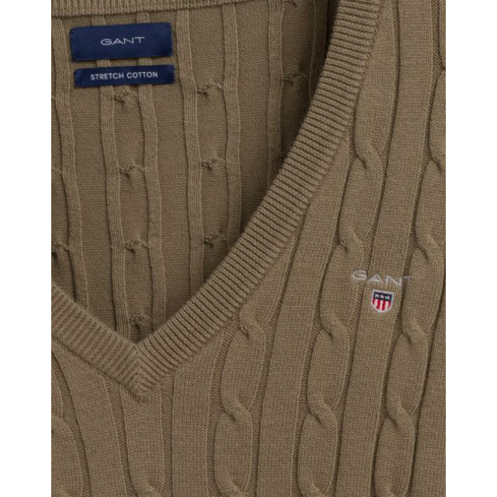 KabelsweaterafstrkbomuldmedVhals-01