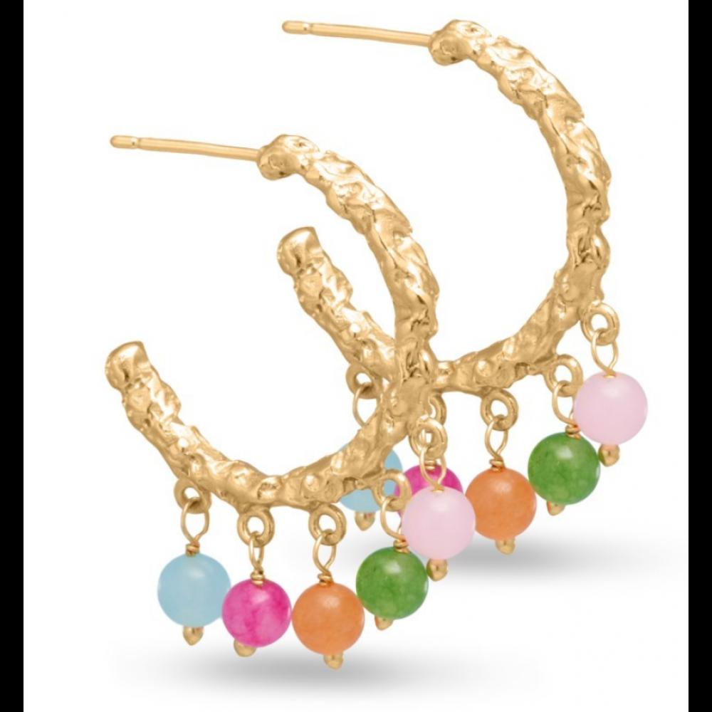 Øreringe m. sten og perler - guld