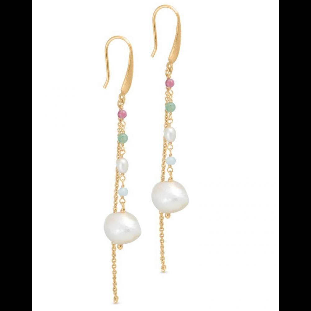 Kæde øreringe m. perler og sten