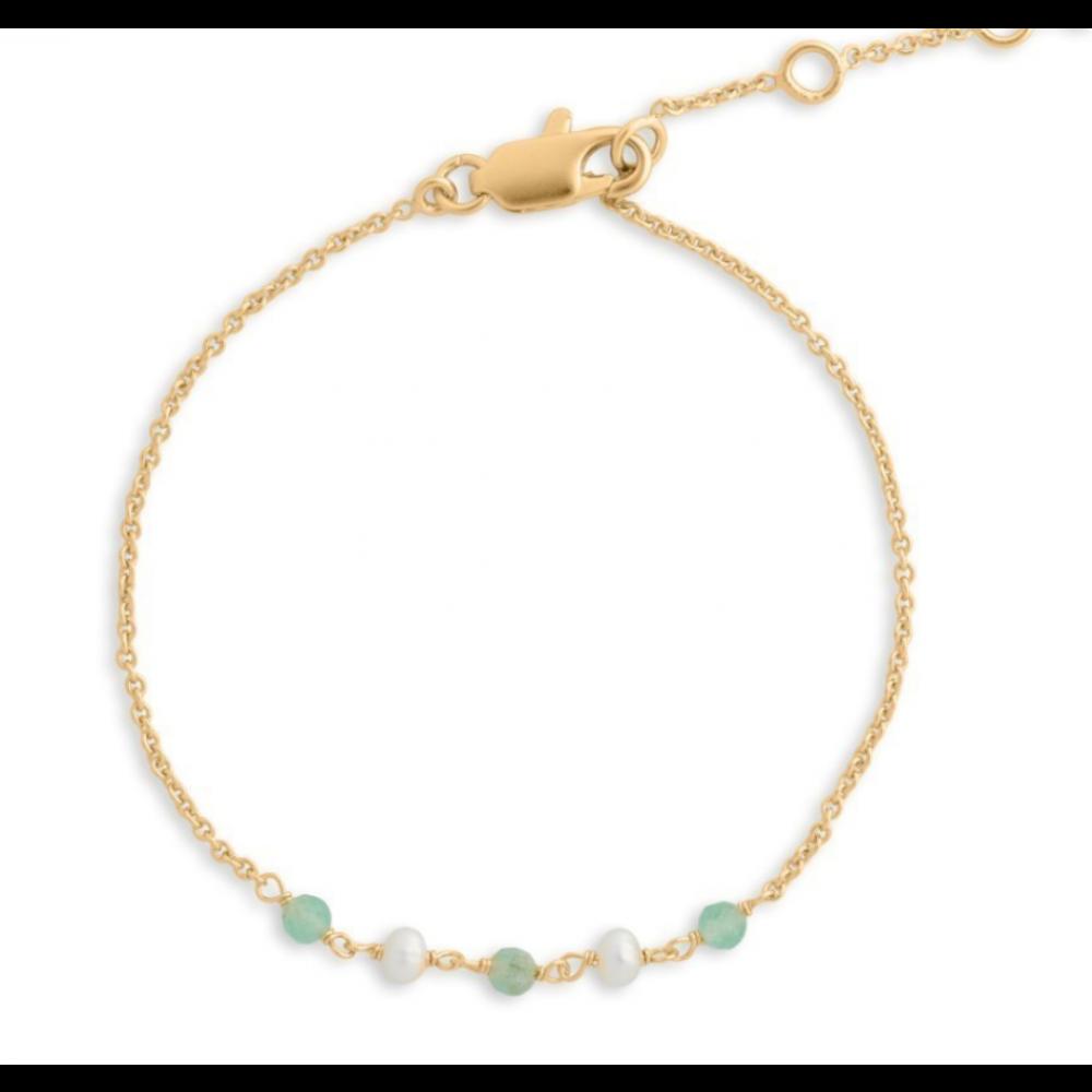 Armbånd m. perler og sten - grøn