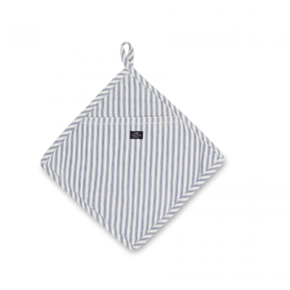 Icons Cotton Herringbone Striped Potholder, Blue/White