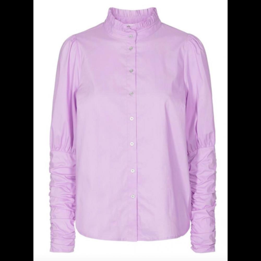 Sandy Poplin Puff Shirt - Purple