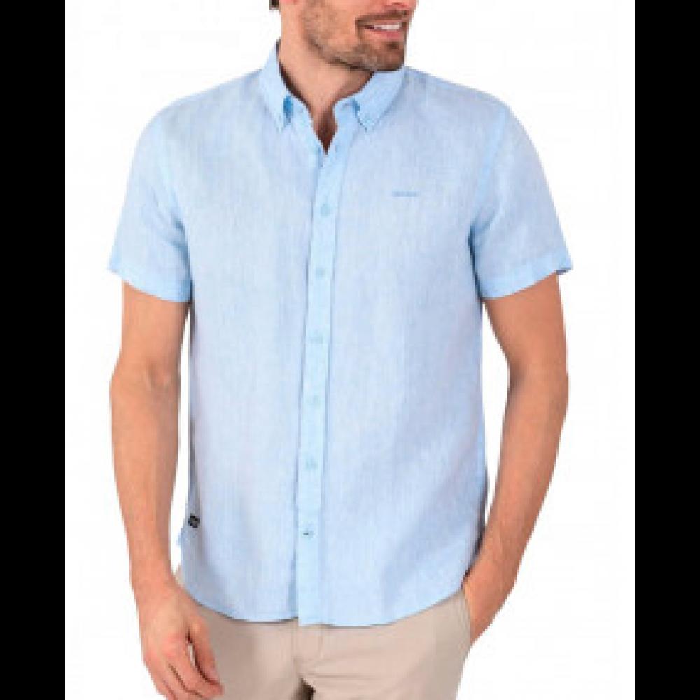 Aiden linen shirt u. ærme - Blå