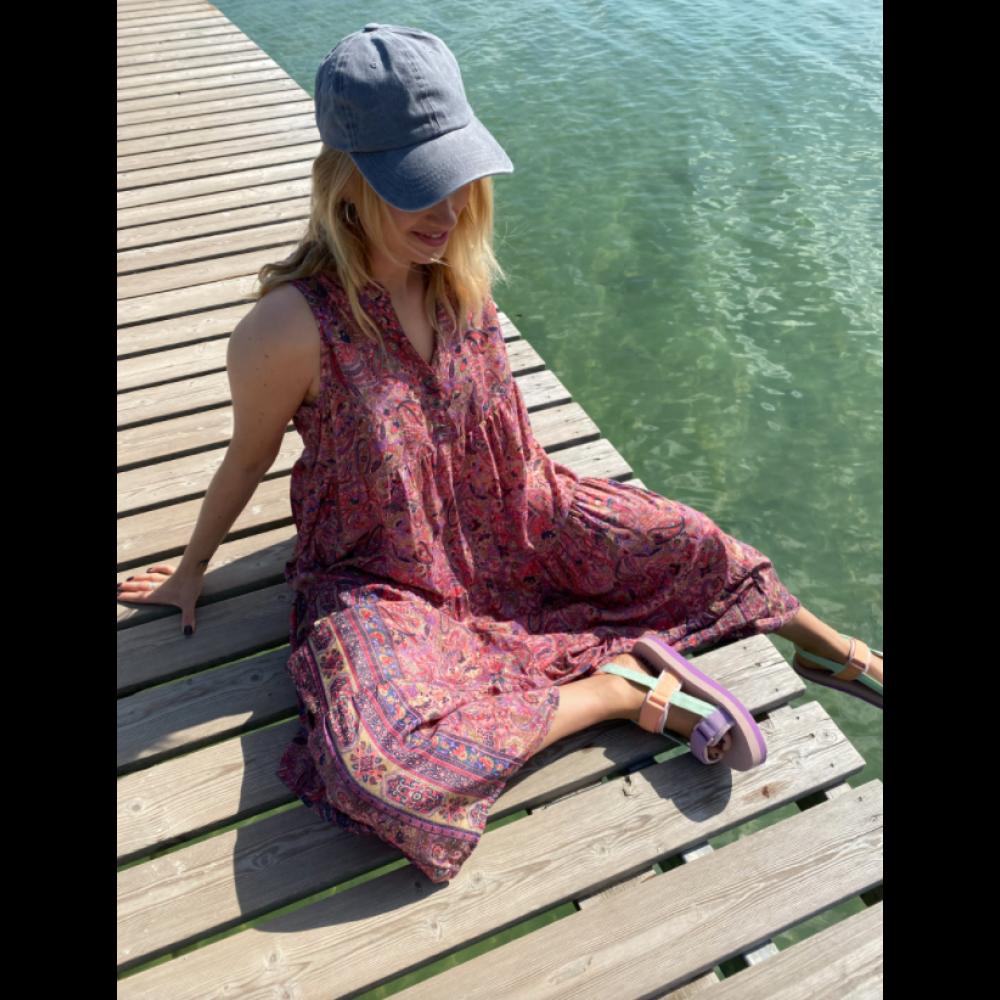 Luna sleeveless boho dress - pink