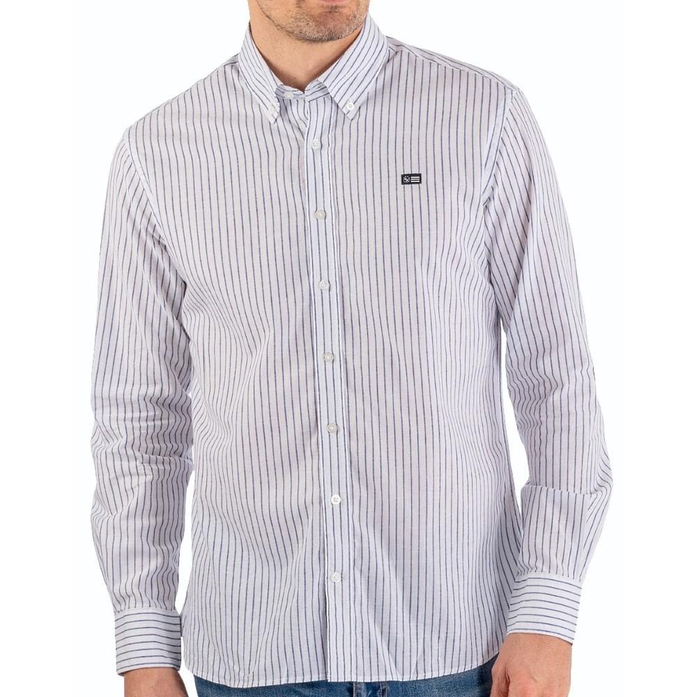 Striped linen shirt navy/white