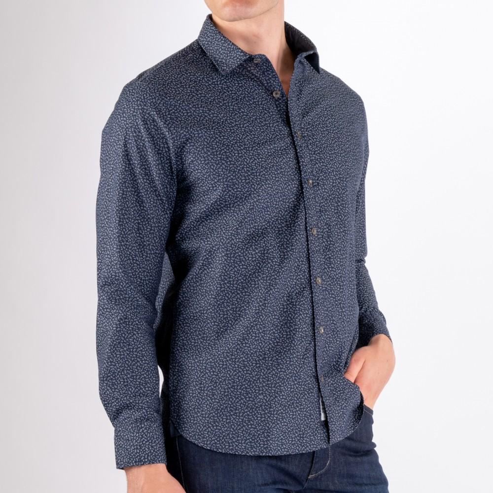 Chambray Printed Shirt, Navy AOP