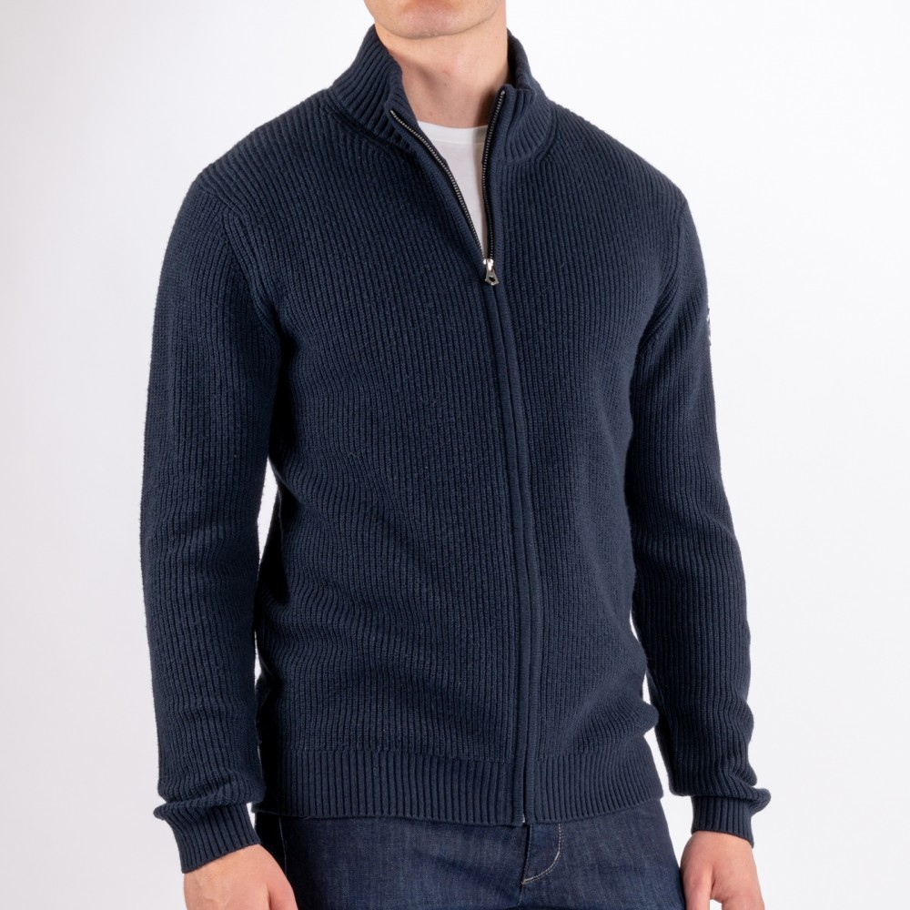 Archipelago Knitted Zip Cardig, Navy Blue