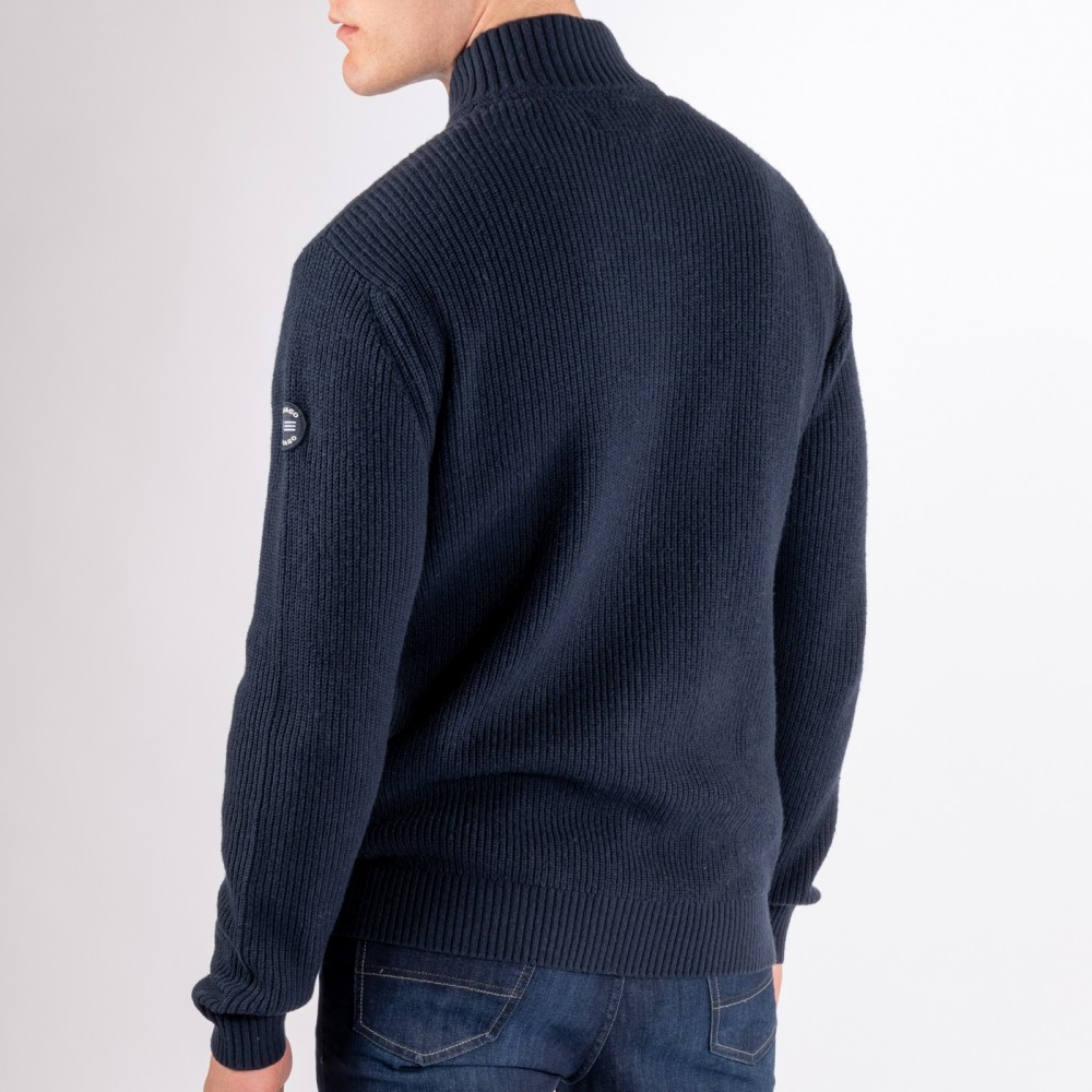 Archipelago Knitted Zip Cardig, Navy Blue-01
